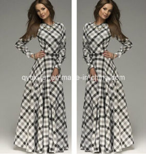 Clothing Long Sleeve Pleuche Dress for Lady pictures & photos