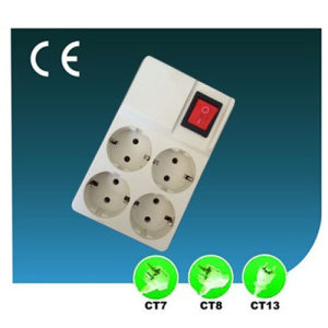 Four Ways European Outlet Electric Switch Socket