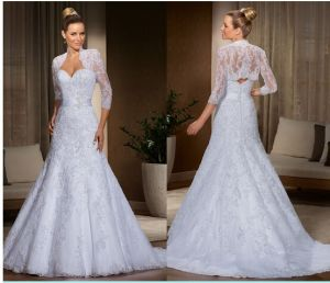 Lace Wedding Gowns 3/4 Sleeves Jacket Wedding Dress H201756 pictures & photos
