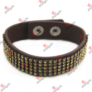Yellow Crystal Pave Leather Bracelet for Girl Fashion Jewelry (LB151108) pictures & photos