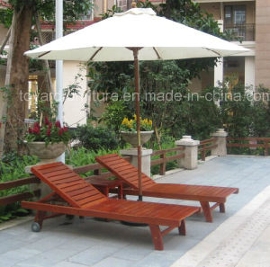 Outdoor Patio Wooden Sunlounger with Coffee Table Garden Umbrella for Hotel Pool Beach Deck pictures & photos