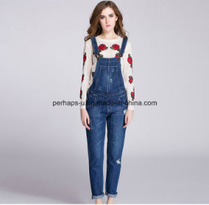 High Quality Denim Ladies Jeans Overall Women Ripped Pants pictures & photos