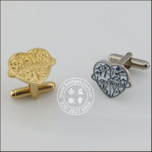 Custom Heart Gold Plated Button, Fashion Cufflink (GZHY-KA-098) pictures & photos