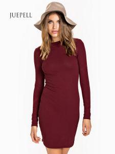 Casual Cotton Knit Bodycon Women T Shirt Dress pictures & photos
