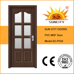 PVC Coated Wood Glass Door Design (SC-P035) pictures & photos