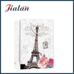 Matte Laminated Ivory Paper Effiel Tower Shopping Gift Paper Bag pictures & photos