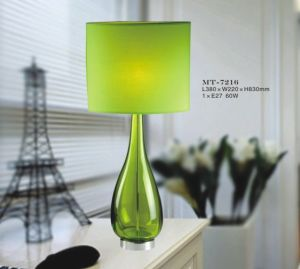 Unique design Glass LED Desk Lamp with Gree Resin Shade pictures & photos