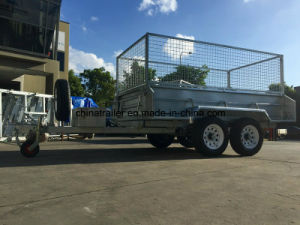 8X5FT Hot Dipped Galvanized Heavy Duty Hydraulic Tandem Trailer with Cage pictures & photos