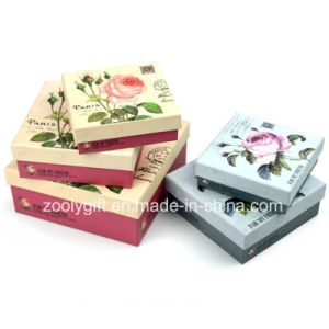 Wholesale Flower Printing Square Paper Gift Packing Box with Lid pictures & photos