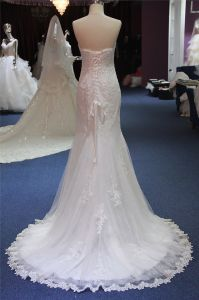 Strappless Lace Mermaid Evening Prom Bridal Wedding Gown pictures & photos