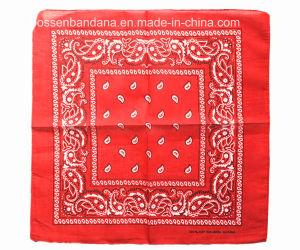 China Factory OEM Produce Custom Logo Print Navy Blue Paisley Cotton Headband Bandanna pictures & photos