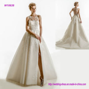 W18638 Sleeveless Illusion Semi Sweetheart Neckline Heavily Embellished Bodice Elegant A Line Wedding Dress with High Front Slit and Sheer Lace Back pictures & photos