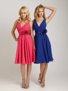 V-Neckline Knee Length Evening Bridesmaid Dress (A6-014)