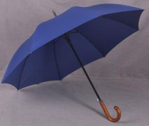 Wooden Curve Handle Straight Windproof Umbrella pictures & photos