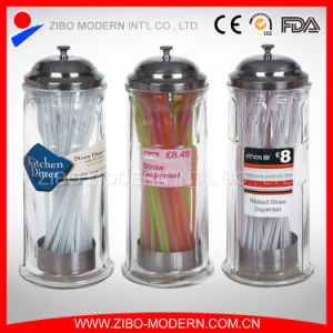 Wholesale Glass Drinking Straw Dispenser with Stainless Metal Cover pictures & photos