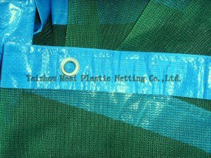 Shade Netting with Blue Hem & Rrings