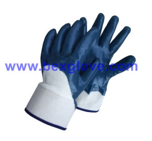 Safety Cuff Work Glove, Blue Nitrile pictures & photos