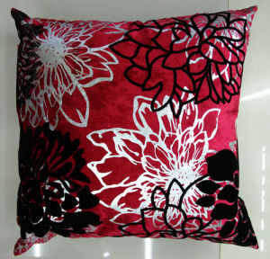 Metallic/Flock Printed Decorative Pillow Metallic Print Cushion (XPL-63) pictures & photos
