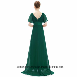 Women Padded Trailing Flutter Sleeve Chiffon Evening Party Prom Dress pictures & photos