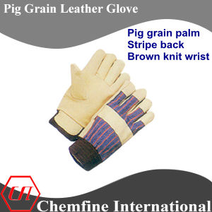Brown Knit Wrist, Pig Grain Palm, Pig Leather Work Gloves pictures & photos