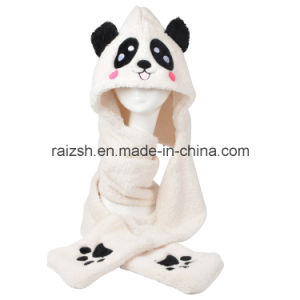 Panda Hats Scarves Gloves Three-Piece Integrally for Ladies pictures & photos