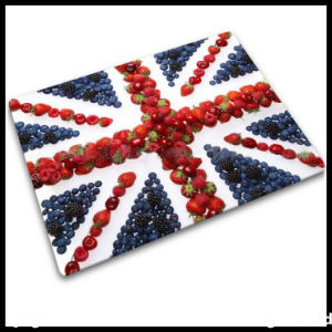 Houseware Tempered Glass Cutting Board with Fruit Decal Pattern pictures & photos