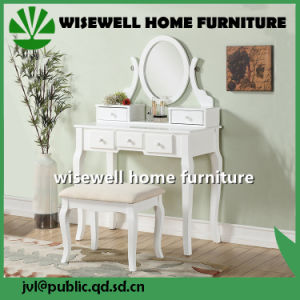 Solid Wood White Cushion Padded Stool for Dressing Table (W-LZ-S508) pictures & photos