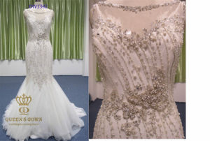 Mermaid Scoop Neck Chapel Train Tulle Bridal Dresses with Beading pictures & photos
