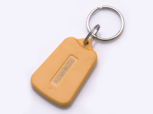Tag07-Yellow-125kHz RFID Card Key Tag/Keyfob with Rings for Time Attendance or Access Control