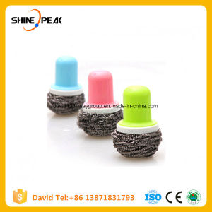 3PC Spiral Stainnless Steel Metal Scourer with Palstic Handle Scrubber pictures & photos
