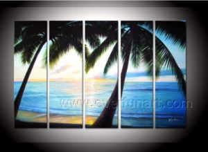 Decorative Canvas Art Coconut Tree Painting Seascape Oil Painting on Canvas (SE-197) pictures & photos