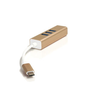 USB Type-C 3.1 to 3-Port USB3.0 Hub with Million Ethernet Adapter for MacBook 2016, Chromebook Pixel and Others USB Type-C Devices pictures & photos