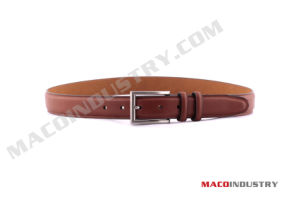 Genuine Leather Belt with Double Loops and Rectangular Buckle (Mu26)