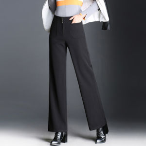 Latest Design Woman Black Loose Fit Zip Wool Pant pictures & photos