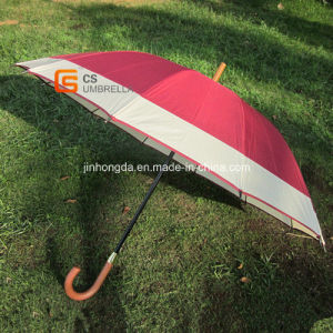 Straight Umbrella with Two Color Fabric Joined and J Handle (YSS008B)