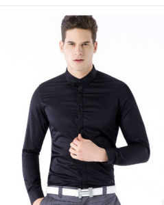 Men′s Cotton Slim Fit Shirt in Solid Black pictures & photos