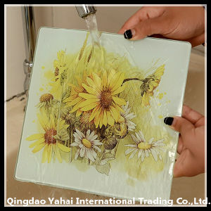 Square Tempered Glass Coaster with Decal Pattern pictures & photos