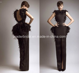 Feather Prom Evening Gowns Split Black Party Formal Evening Dresses Z3004 pictures & photos