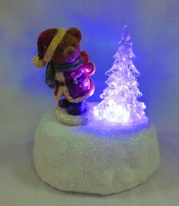 Polyresin Bear and Tree in Winter W/LED Light