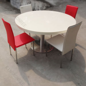 China round quartz stone top dining table and chair for Quartz top dining table