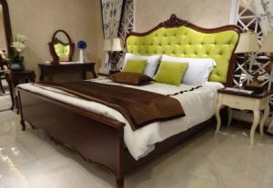 Fabric Bed in Beech Solid Wood Frame