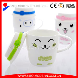 High White Ceramic Coffee Mug with Printing and Lid pictures & photos