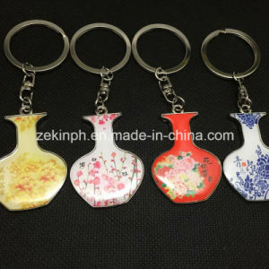 Customized Vase Shape Printing Metal Keychain pictures & photos