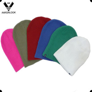 Hot Sale Stylish Simple Basic Acrylic Winter Knitted Beanie pictures & photos