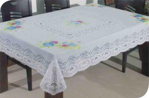 PVC Long Lace Tablecloth (JFTB-003) pictures & photos