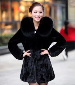Women′s 100% Real Mink Fur Coat with Big Fox Fur Collar Patchwork pictures & photos