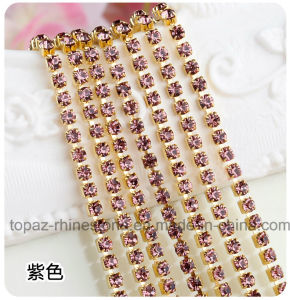 Glass Rhinestone Chain Dense Gold Claw Rhinestone Trimming Chain (RCG-2.5mm amethyst) pictures & photos