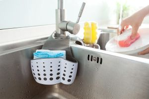 Sifter Wash Basket, Portable Kitchen Hanging Drain Bag Basket Bath Storage Tools Sink Holder, Double-Layer Basket pictures & photos
