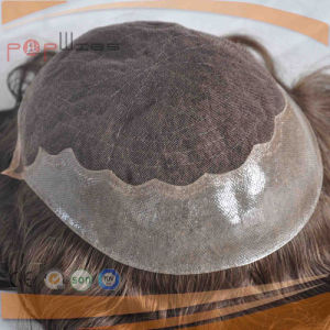 Full Lace Human Hair Hand Tied Front Lace Warm Brown Color Mens Wig Toupee pictures & photos