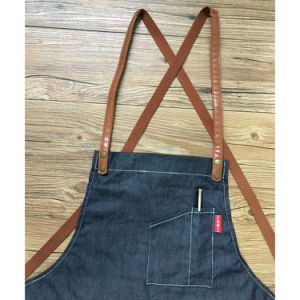 Factory Custom Fashion Black Denim Work Aprons for Coffee Shop pictures & photos